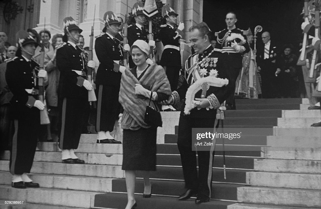 Prince Rainier with Princess Grace coming out of church in Monte Carlo 1960's