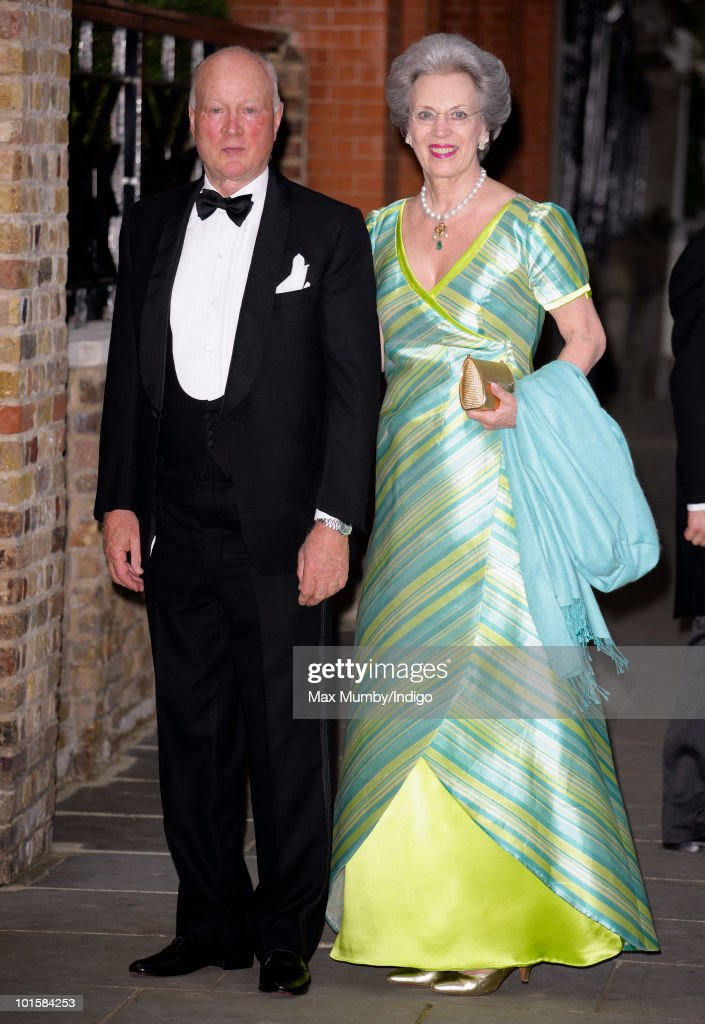 Prince Richard and Princess Benedikte of Denmark attend King Constantine of Greece's 70th birthday party at Crown Prince Pavlos of Greece's residence on June 2, 2010 in London, England.
