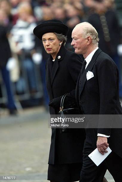 Prince Richard and Princess Benedikte zu SaynWittgensteinBerleburg walk to the Nieuwe kerk church for the funeral ceremony of Prince Claus of the...