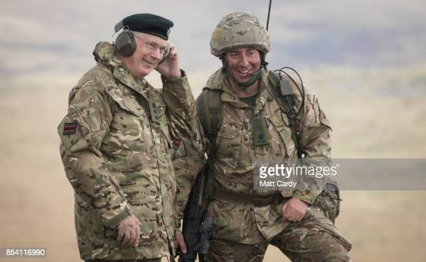 Prince Richard The Duke of Gloucester chats with a soldier from 6 RIFLES on the range at Okehampton Camp Dartmoor during the 6th Battalion The...