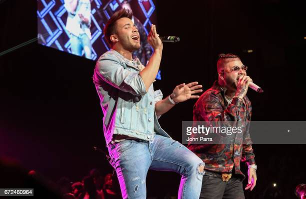 Prince Royce and Farruko perform at Miami Bash 2017 at American Airlines Arena on April 23 2017 in Miami Florida