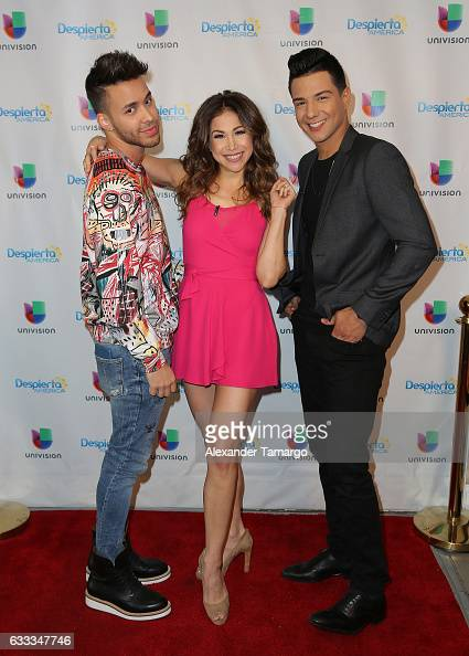 Prince Royce Bianca Marroquin and Luis Coronel are seen on the set of 'Despierta America' to promote the television show 'Pequenos Gigantes USA' at...