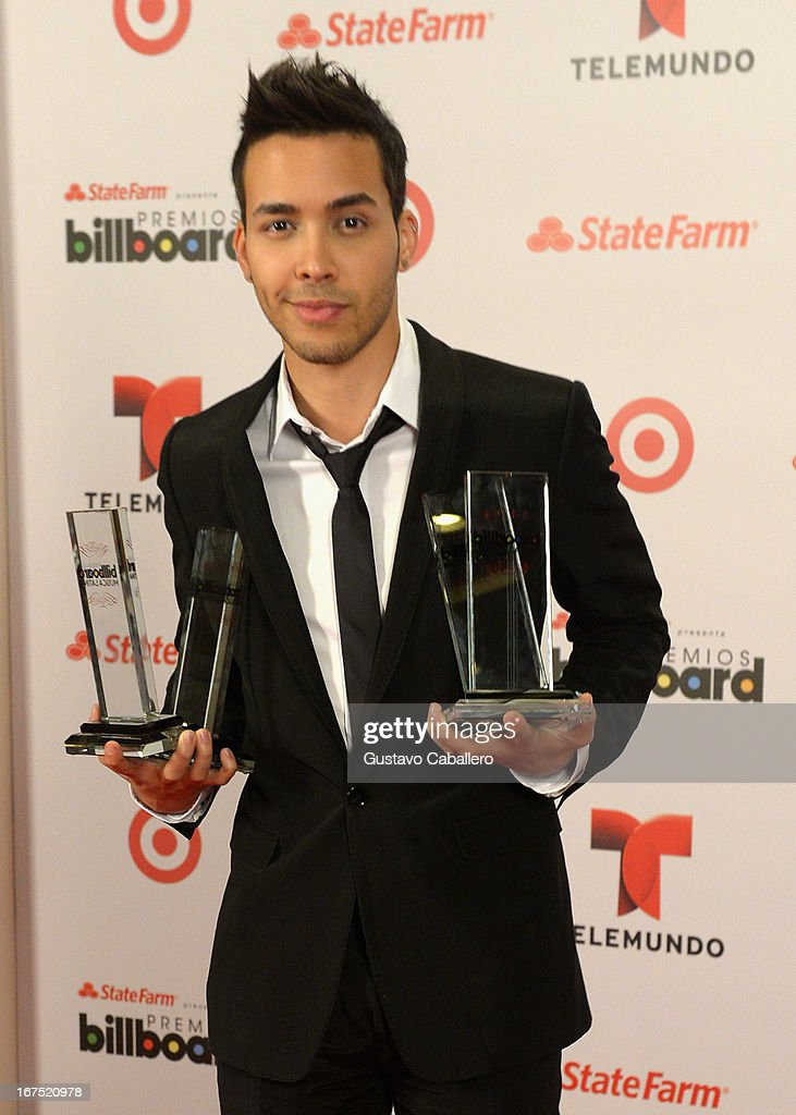 Prince Royce poses backstage at Billboard Latin Music Awards 2013 at Bank United Center on April 25, 2013 in Miami, Florida.