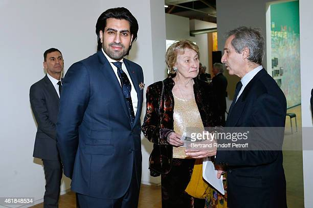 Prince Salman Al Saoud Marisa Bruni Tedeschi and Director of the Centre Pompidou Museum of Modern Art Bernard Blistene attend the 'Societe des Amis...