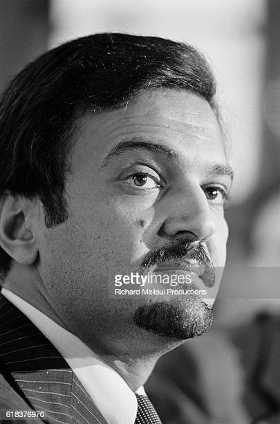 Prince Saud al Faisal the Foreign Minister of Saudi Arabia gives a press conference at the Hotel Crillon in Paris Saud al Faisal is the greatgrandson...