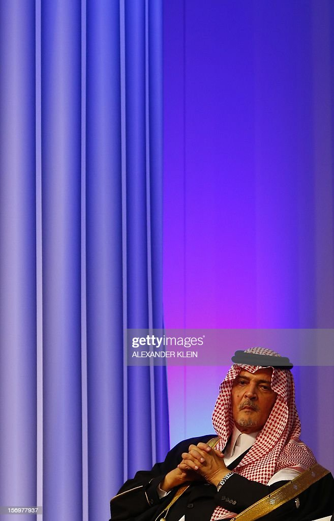 Prince Saud Al-Faisal Bin Abdulaziz Al-Saud, Minister for Foreign Affairs for the Kingdom of Saudi Arabia looks on after delivering a speech during the inauguration ceremony of the KAICIID Center (King Abdullah Bin Abdulaziz International Centre for Interreligious and Intercultural Dialogue) held at the Hofburg in Vienna on November 26, 2012. AFP PHOTO / ALEXANDER KLEIN