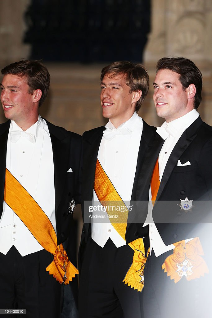 Prince Sebastian of Luxembourg, <a gi-track='captionPersonalityLinkClicked' href=/galleries/search?phrase=Prince+Louis+of+Luxembourg&family=editorial&specificpeople=674475 ng-click='$event.stopPropagation()'>Prince Louis of Luxembourg</a> and <a gi-track='captionPersonalityLinkClicked' href=/galleries/search?phrase=Prince+Felix+of+Luxembourg&family=editorial&specificpeople=6881094 ng-click='$event.stopPropagation()'>Prince Felix of Luxembourg</a> attend the Gala dinner for the wedding of Prince Guillaume Of Luxembourg and Stephanie de Lannoy at the Grand-ducal Palace on October 19, 2012 in Luxembourg, Luxembourg. The 30-year-old hereditary Grand Duke of Luxembourg is the last hereditary Prince in Europe to get married, marrying his 28-year old Belgian Countess bride in a lavish 2-day ceremony.
