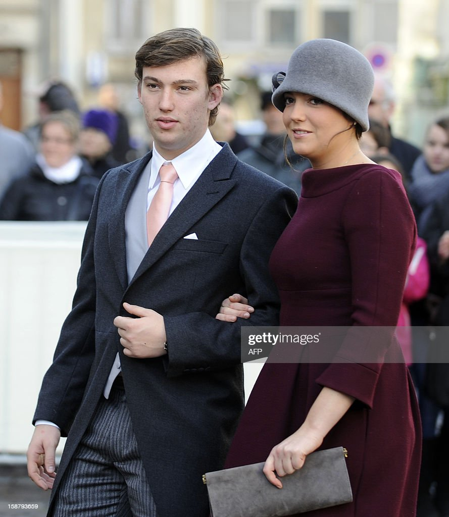 Prince Sebastien of Luxembourg and his sister Princess Alexandra of Luxembourg arrive at the Saint Epvre Basilica for the wedding of Archduke of Austria Christoph of Habsbourg-Lorraine and Archduchess Adelaide Drape-Frisch, on December 29, 2012, in Nancy.