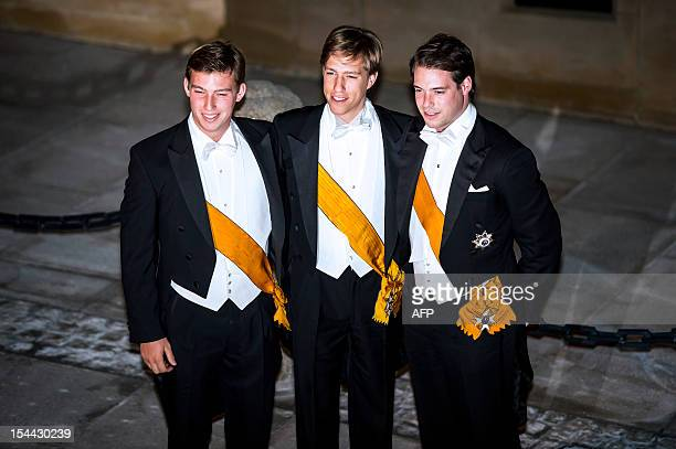 Prince Sebastien of Luxembourg Prince Louis of Luxembourg and Prince Felix of Luxembourg arrive for a gala dinner at the GrandDucal palace after the...