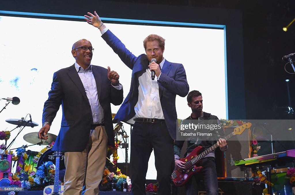 Prince Seeiso of Lesotho and <a gi-track='captionPersonalityLinkClicked' href=/galleries/search?phrase=Prince+Harry&family=editorial&specificpeople=178173 ng-click='$event.stopPropagation()'>Prince Harry</a> on stage at the finale of the Sentebale Concert at Kensington Palace on June 28, 2016 in London, England. Sentebale was founded by <a gi-track='captionPersonalityLinkClicked' href=/galleries/search?phrase=Prince+Harry&family=editorial&specificpeople=178173 ng-click='$event.stopPropagation()'>Prince Harry</a> and Prince Seeiso of Lesotho over ten years ago. It helps the vulnerable and HIV positive children of Lesotho and Botswana.