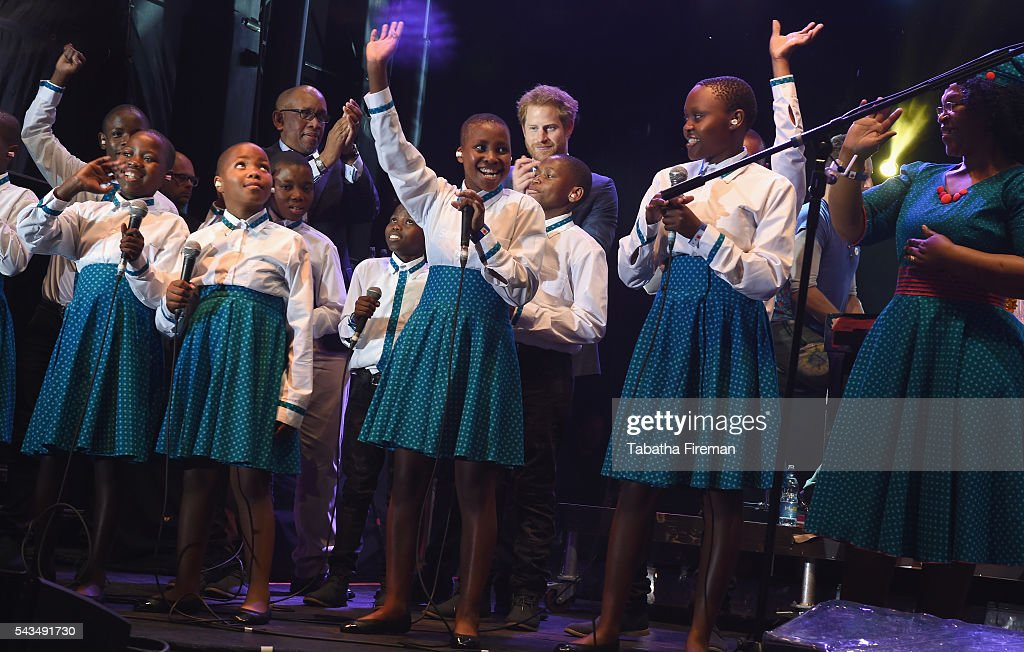 Prince Seeiso of Lesotho and <a gi-track='captionPersonalityLinkClicked' href=/galleries/search?phrase=Prince+Harry&family=editorial&specificpeople=178173 ng-click='$event.stopPropagation()'>Prince Harry</a> on stage with the Basotho Youth Choir at the finale of the Sentebale Concert at Kensington Palace on June 28, 2016 in London, England. Sentebale was founded by <a gi-track='captionPersonalityLinkClicked' href=/galleries/search?phrase=Prince+Harry&family=editorial&specificpeople=178173 ng-click='$event.stopPropagation()'>Prince Harry</a> and Prince Seeiso of Lesotho over ten years ago. It helps the vulnerable and HIV positive children of Lesotho and Botswana.