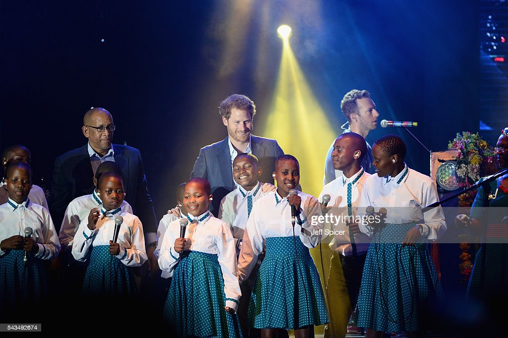 Prince Seeiso of Lesotho, <a gi-track='captionPersonalityLinkClicked' href=/galleries/search?phrase=Prince+Harry&family=editorial&specificpeople=178173 ng-click='$event.stopPropagation()'>Prince Harry</a> and Chris Martin on stage with the Basotho Youth Choir at the finale of the Sentebale Concert at Kensington Palace on June 28, 2016 in London, England. Sentebale was founded by <a gi-track='captionPersonalityLinkClicked' href=/galleries/search?phrase=Prince+Harry&family=editorial&specificpeople=178173 ng-click='$event.stopPropagation()'>Prince Harry</a> and Prince Seeiso of Lesotho over ten years ago. It helps the vulnerable and HIV positive children of Lesotho and Botswana.