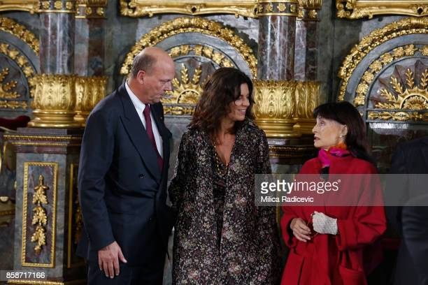 Prince Sergius Karadjordjevic Princess Elena Karadjordjevic Princess Elizabeth Karadjordjevic during wedding of Prince Philip of Serbia and Danica...