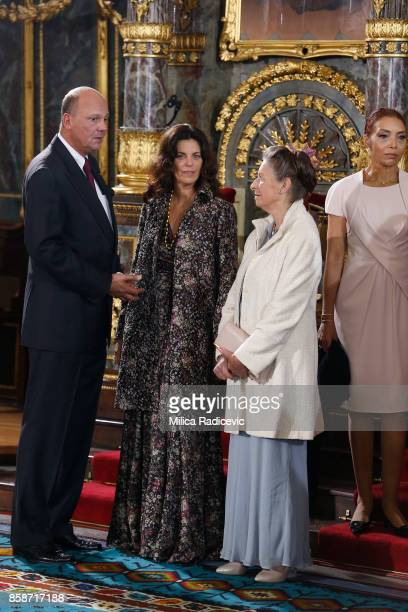 Prince Sergius Karadjordjevic Princess Elena Karadjordjevic Princess Linda Karadjordjevic during wedding of Prince Philip of Serbia and Danica...