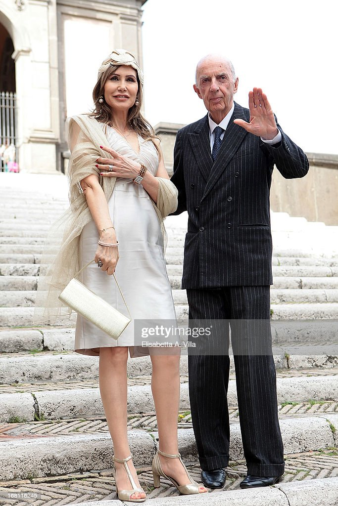 Prince Sforza Ruspoli and wife Maria Pia Ruspoli arrive at the Valeria Marini and Giovanni Cottone wedding at Ara Coeli on May 5, 2013 in Rome, Italy.