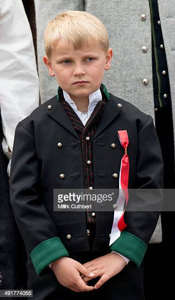Prince Sverre Magnus greets the Childrens Parade on the Skaugum Estate on May 17 2014 in Oslo Norway