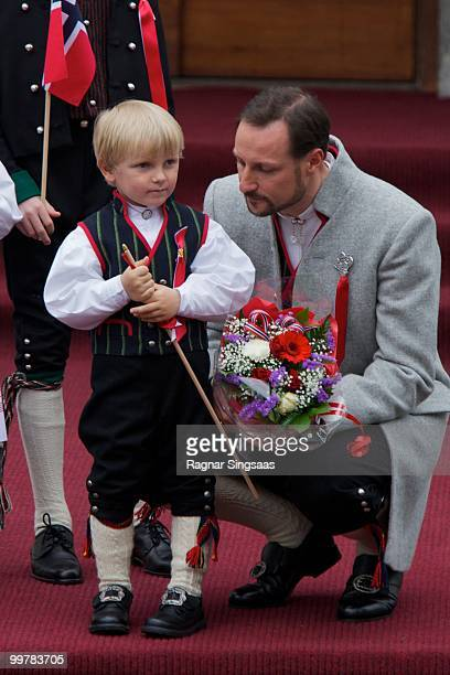 Prince Sverre Magnus of Norway and Crown Prince Haakon of Norway attend The Children's Parade on Norway's National Day on May 17 2010 in Asker Norway