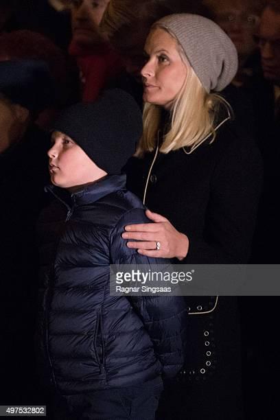 Prince Sverre Magnus of Norway and Crown Princess MetteMarit of Norway attend a Paris Memorial on November 17 2015 in Oslo Norway