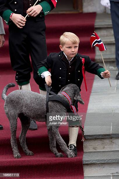 Prince Sverre Magnus of Norway and Family Dog Milly Kakaocelebrate Norway National Day at The Crown Prince couples residence Skaugum in Asker near...