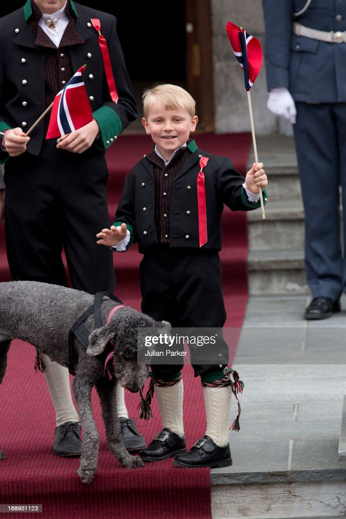 Prince Sverre Magnus of Norway and Family Dog, Milly Kakao,celebrate Norway National Day at The Crown Prince couples residence, Skaugum, in Asker, near Oslo on May 17, 2013 in Asker, Norway.