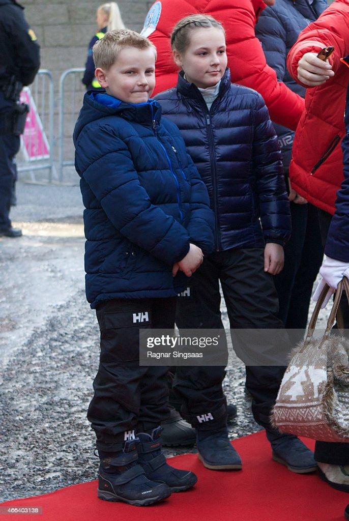 Prince Sverre Magnus of Norway and <a gi-track='captionPersonalityLinkClicked' href=/galleries/search?phrase=Princess+Ingrid+Alexandra&family=editorial&specificpeople=243087 ng-click='$event.stopPropagation()'>Princess Ingrid Alexandra</a> of Norway attend the FIS Nordic World Cup on March 15, 2015 in Oslo, Norway.