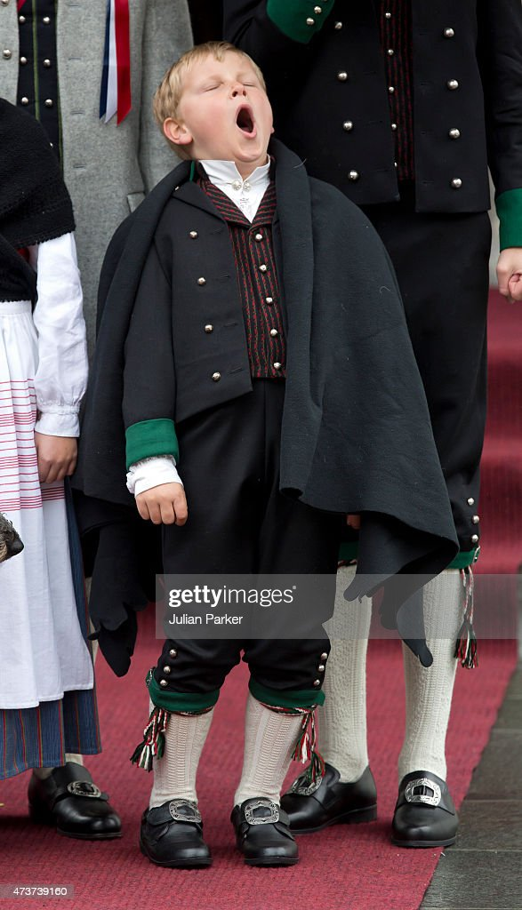 Prince Sverre Magnus of Norway attends the traditional morning children's parade, at his home, Skaugum, in Asker, near Oslo, on Norway's National Day, on May 17, 2015 in Oslo, Norway.