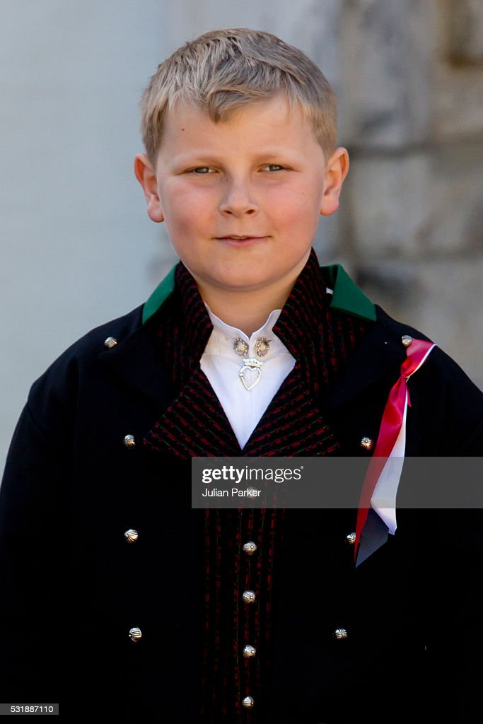 Prince Sverre Magnus of Norway attends the traditional morning children's parade, at his home, Skaugum, in Asker, near Oslo, on Norway's National Day, on May 17, 2016 in Oslo, Norway.