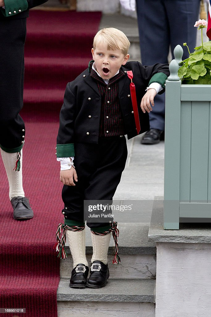 Prince Sverre Magnus of Norway, celebrates Norway National Day at The Crown Prince couples residence, Skaugum, in Asker, near Oslo on May 17, 2013 in Asker, Norway.