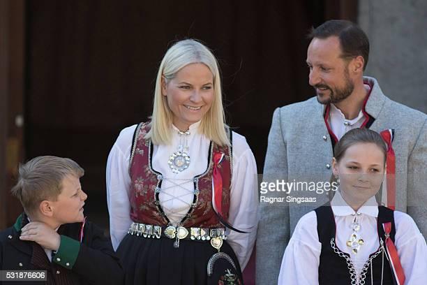 Prince Sverre Magnus of Norway Crown Princess MetteMarit of Norway Princess Ingrid Alexandra of Norway and Crown Prince Haakon of Norway celebrate...