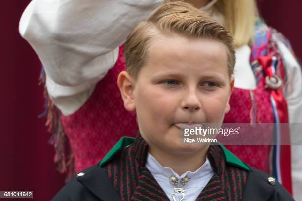 Prince Sverre Magnus of Norway during the children's parade at Skaugum on Norway's National Day on May 17 2017 in Asker Norway