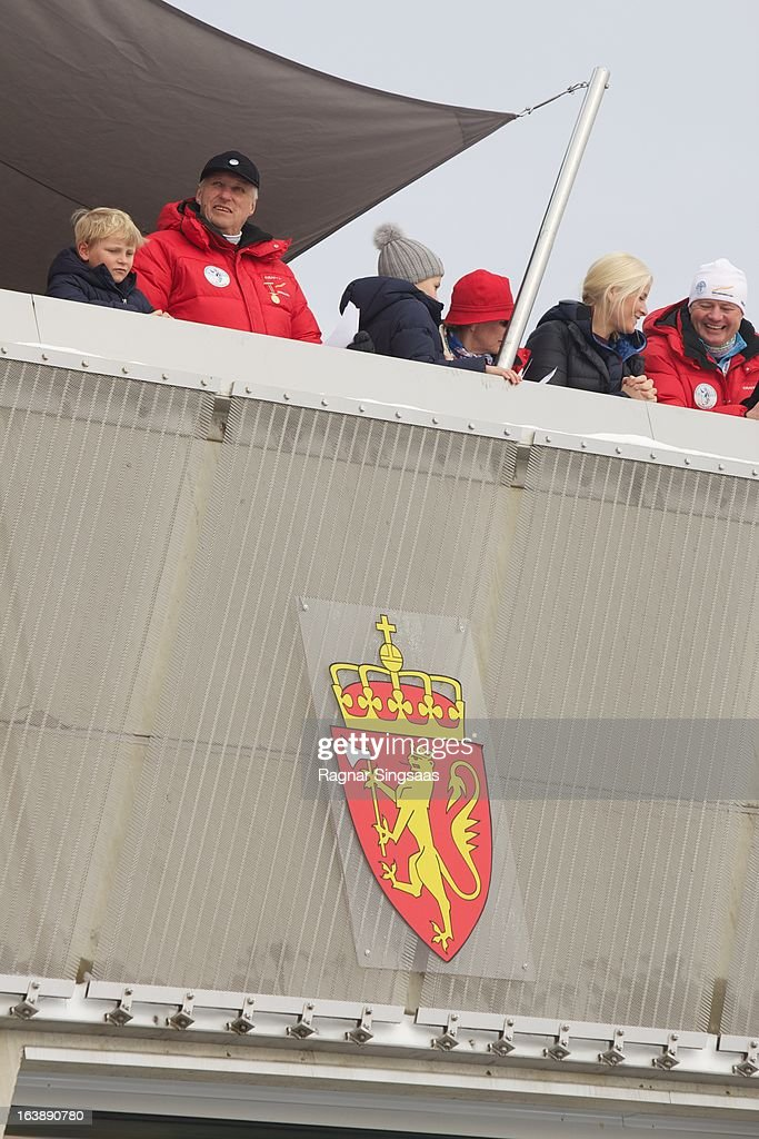 Prince Sverre Magnus of Norway, King Harald V of Norway, Princess Ingrid Alexandra of Norway, Queen Sonja of Norway and Princess Mette-Marit of Norway attend FIS World Cup Nordic Holmenkollen 2013 on March 17, 2013 in Oslo, Norway.