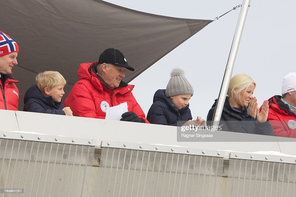 Prince Sverre Magnus of Norway, King Harald V of Norway, Princess Ingrid Alexandra of Norway and Princess Mette-Marit of Norway attend FIS World Cup Nordic Holmenkollen 2013 on March 17, 2013 in Oslo, Norway.