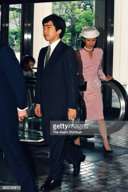 Prince Takamado and Princess Hisako of Takamado are seen prior to the 'Kikuei Shinbokukai' meeting of the royal family members and cedeced royal...