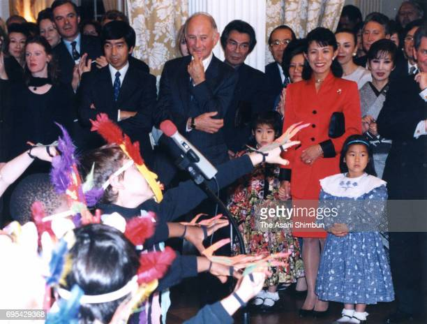 Prince Takamado and Princess Hisako of Takamado attend a children's book launch reception at the British Embassy on November 13 1996 in Tokyo Japan