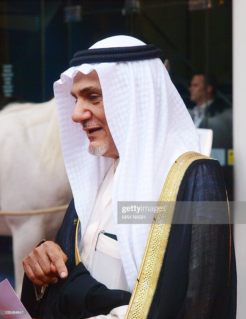 Prince Turki Al Faisal Bin Abdul Aziz Al Saud arrives to attend the Royal Premiere of Arabia 3D in London's South Bank, on May 24, 2010. AFP Photo/MAX