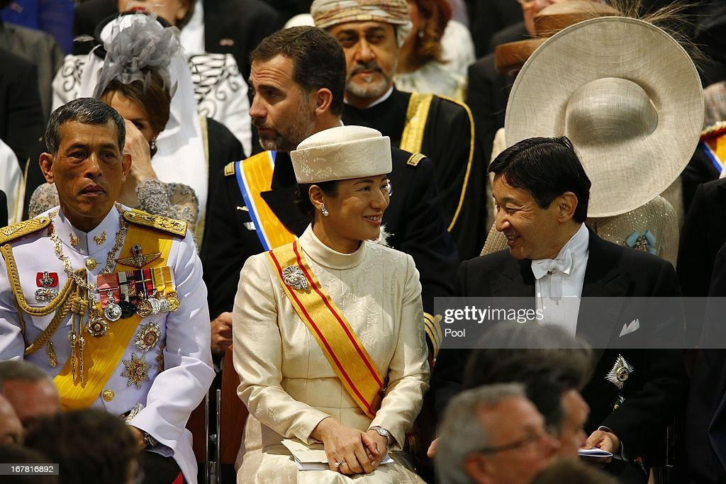 Prince Vajiralongkorn of Thailand, Princess Masako of Japan and Prince Naruhito of Japan attend the inauguration of King Willem-Alexander of the Netherlands in front of a joint session of the two houses of the States General at Nieuwe Kerk on April 30, 2013 in Amsterdam, Netherlands.