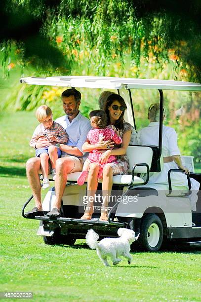 Prince Vincent Crownprince Frederik Princess Athena and Princess Marie attend the annual summer photo call for the Royal Danish family at Grasten...