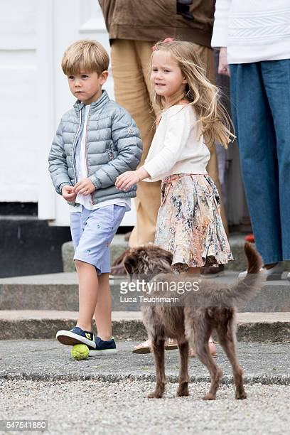 Prince Vincent of Denmark and Princess Josephine of Denmark are seen during the annual summer photo call for The Danish Royal Family at Grasten...