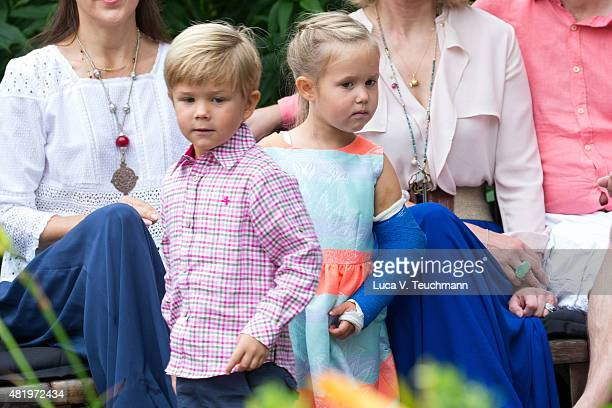 Prince Vincent of Denmark and Princess Josephine of Denmark attend the annual summer Photocall for The Danish Royal Family at Grasten Castle on July...