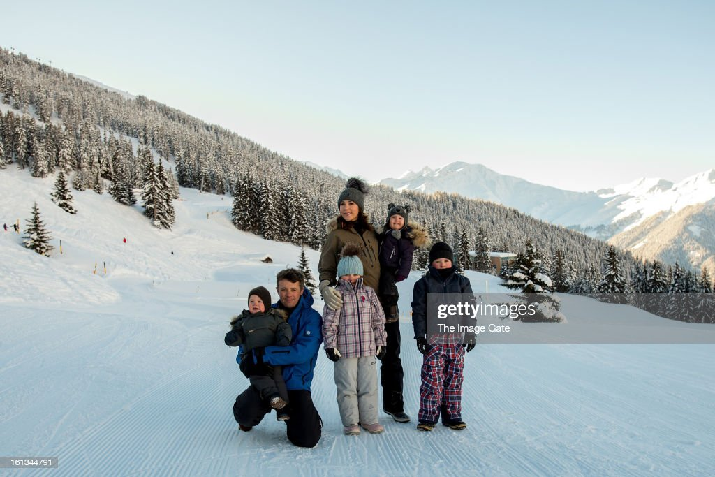 Prince Vincent of Denmark, Crown Prince Frederik of Denmark, Princess Isabella of Denmark, Princess Mary of Denmark, Princess Josephine of Denmark and Prince Christian of Denmark meet the press, whilst on skiing holiday on February 10, 2013 in Verbier, Switzerland.