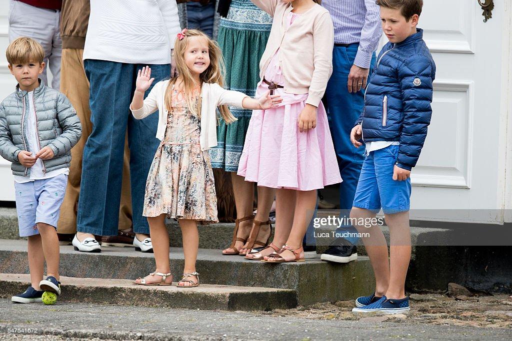 Prince Vincent of Denmark, Princess Josephine of Denmark and Prince Christian of Denmark are seen on the annual summer photo call for The Danish Royal Family at Grasten Castle on July 25, 2015 in Grasten, Denmark