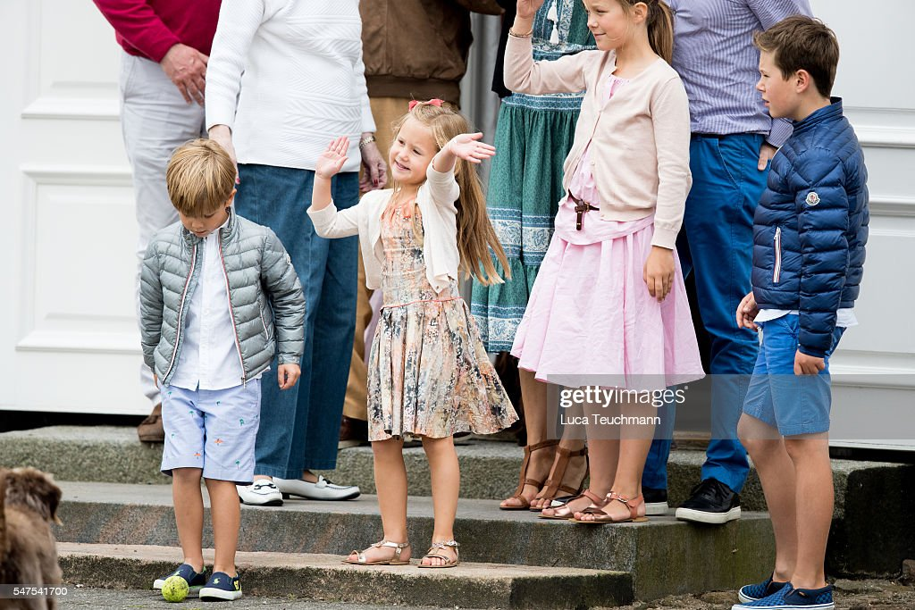 Prince Vincent of Denmark, Princess Josephine of Denmark, Princess Isabella of Denmark and Prince Christian of Denmark are seen during the annual summer photo call for The Danish Royal Family at Grasten Castle on July 25, 2015 in Grasten, Denmark