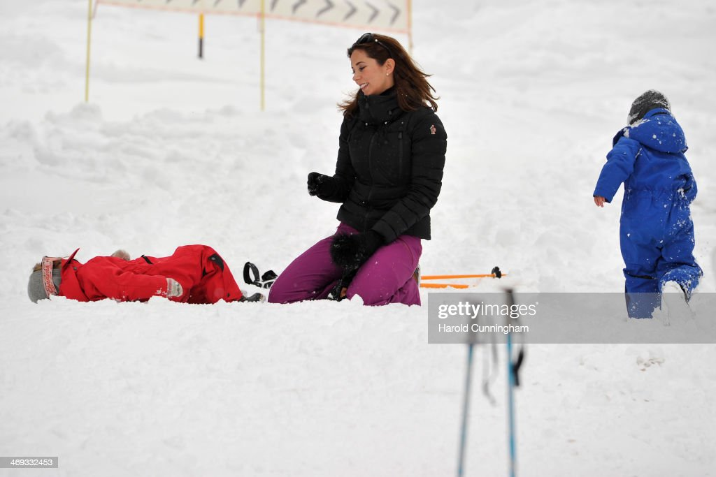 Prince Vincent of Denmark, Princess Mary of Denmark and Princess Josephine of Denmark meet the press, whilst on skiing holiday on February 14, 2014 in Verbier, Switzerland.