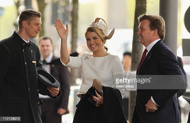 Prince WillemAlexander and Princess Maxima of the Netherlands arrive at the Adlon Hotel on April 12 2011 in Berlin Germany The Dutch royals including...