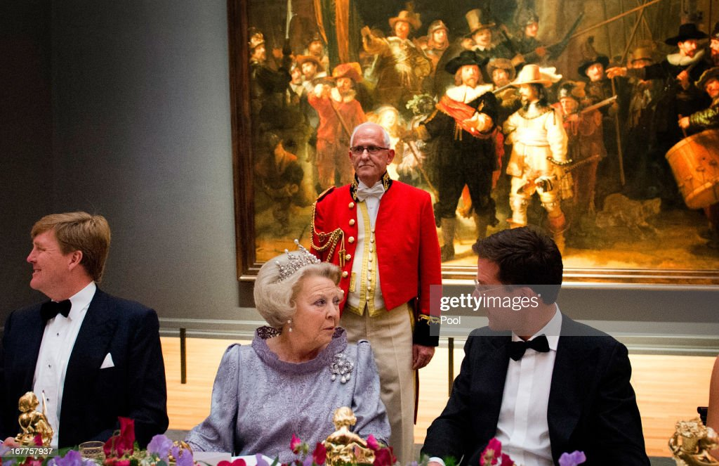 Prince Willem-Alexander of the Netherlands, Queen Beatrix of The Netherlands and Dutch Prime Minister <a gi-track='captionPersonalityLinkClicked' href=/galleries/search?phrase=Mark+Rutte&family=editorial&specificpeople=4509362 ng-click='$event.stopPropagation()'>Mark Rutte</a> attend a dinner hosted by Queen Beatrix of The Netherlands ahead of her abdication at Rijksmuseum on April 29, 2013 in Amsterdam, Netherlands.
