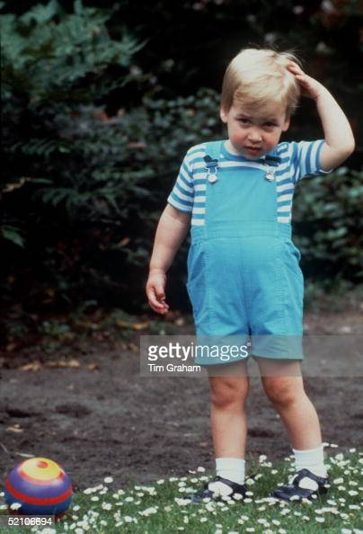 Prince William Age 2 In The Garden Of His Home At Kensington Palace Playing With A Football