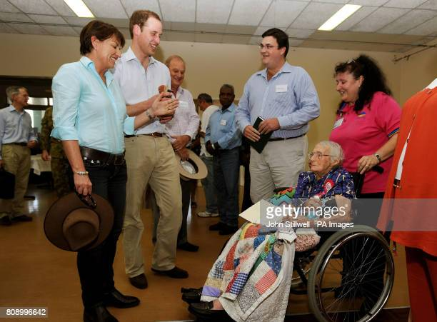 Prince William and Anna Bligh the Premier of Queensland speak with Betty Evans who will 102yearsold tomorrow as he visited the town of Cardwell in...