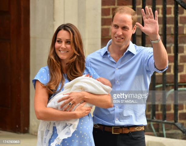 Prince William and Catherine Duchess of Cambridge show their newborn baby boy to the world's media standing on the steps outside the Lindo Wing of St...