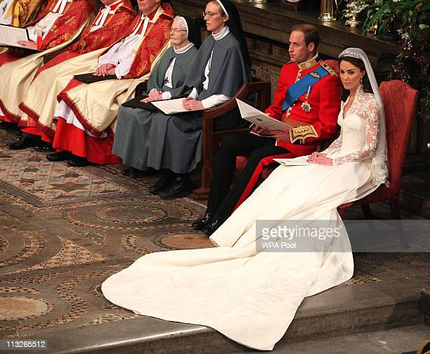 Prince William and Catherine Middleton during their wedding service in Westminster Abbey ahead of the Royal Wedding of Prince William to Catherine...