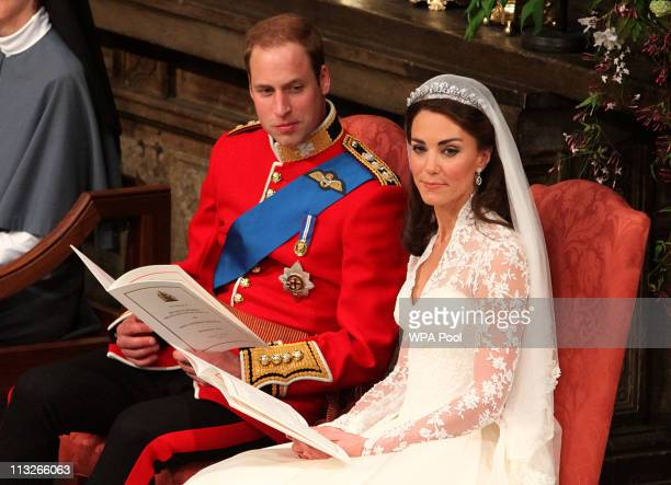Prince William and Catherine Middleton during their wedding service in Westminster Abbey on April 29 2011 in London England The marriage of the...